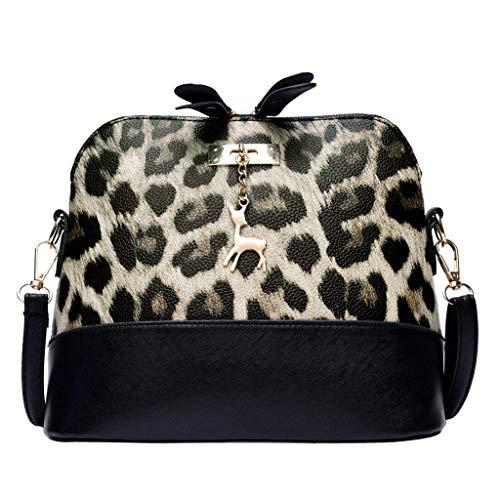lmx+3f Fashion Mother's Day Tote Messenger Bag Women Leopard Print Crossbody Bag Fawn Pendant Shell Shoulder Bag Handbag