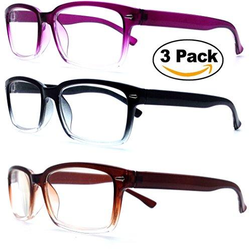 (#RG121 3PK blk/prp/brn) Men Women Unisex Retro Classic Reading Glasses Reader Eye Wear Glasses Spring Hinged Round With Free Pouch (3 Pairs Wayfarer, - Glasses Wear Geek