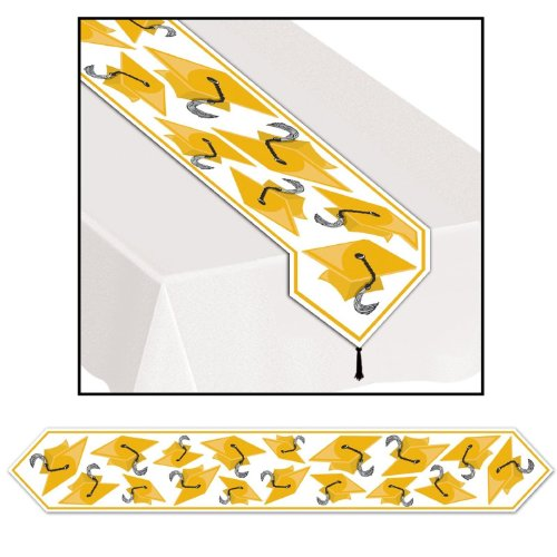 Printed Grad Cap Table Runner, Gold 11in.x 6ft, Pkg/12