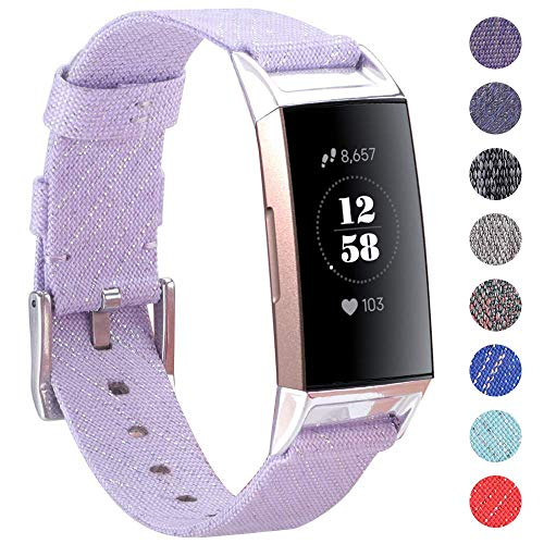 - EZCO Compatible with Fitbit Charge 3 Bands, Woven Fabric Breathable Watch Strap Quick Release Replacement Wristband Accessories Man Woven Compatible with Charge 3 Fitness Smart Watch