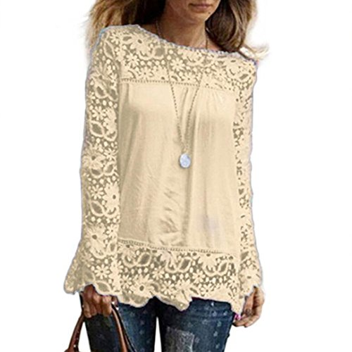 vermers Womens Long Sleeve T Shirt Women Casual Lace Tops Fashion Loose Blouse