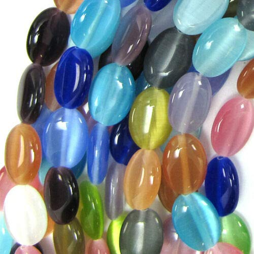Cats Eye Flat Oval Beads - 14mm Multicolor Fiber Optic Cats Eye Flat Oval Beads 15