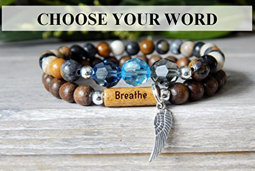 (CHOOSE WORD: Just Breathe, Strength, Journey, Love, Patience, Breathe, Namaste, Sister, Imagine Angel Wing Inspiration Charm Bracelet)