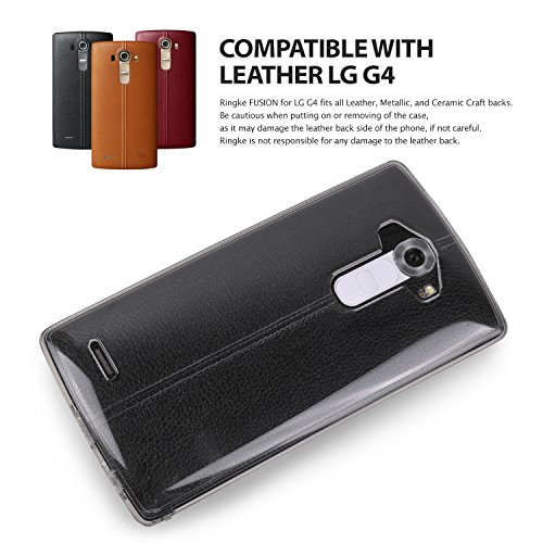 Ringke [Fusion] Compatible with LG G4 Case Crystal Clear PC Back TPU Bumper with Screen Protector [Drop Protection, Shock Absorption Technology][Attached Dust Cap] for LG G4 - Smoke Black by Ringke (Image #7)
