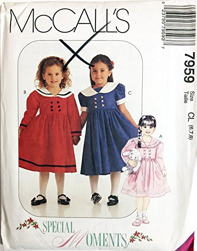(McCalls Sewing Pattern Children's Girls' Dress # 7959 Size 6, 7,)