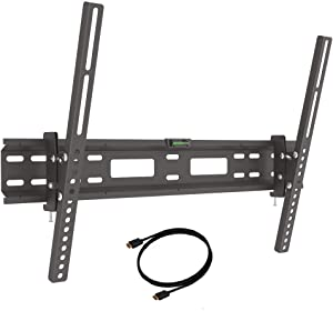 Barkan 13-80 inch Tilt Flat/Curved TV Wall Mount + 6ft HDMI Cable 110 lbs Black Continuous Tilt Bubble Level Included 20 Year Warranty