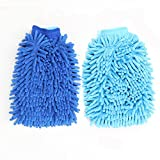 2 Pack of Extra Large Size Premium Microfiber Chenille Super Absorbent Wash and Wax Glove, Car Wash Mitts