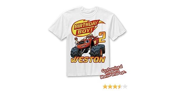 b8520d87 Amazon.com: Blaze and the Monster Machines Birthday Shirt, Blaze Custom  Shirt, Personalized Blaze, Blaze family shirts, Birthday t-shirts: Handmade