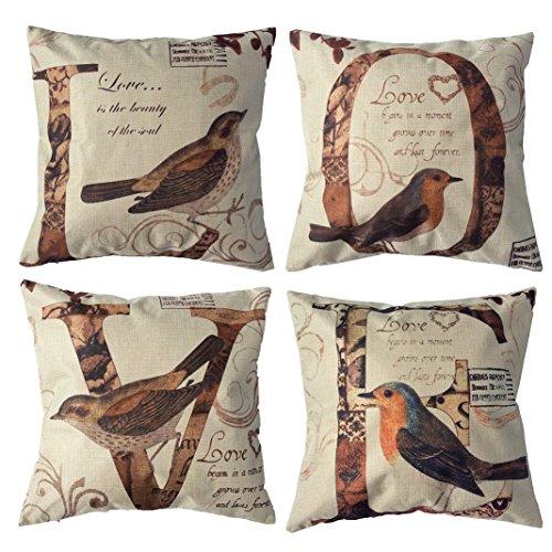 Monkeysell 4pcs Custom LOVE Birds Pattern Linen Decorative Throw Pillow Case Sofa Car Throw Pillow Cover (4pcs Custom LOVE Birds Pattern (Glow In The Dark Eye Contacts)
