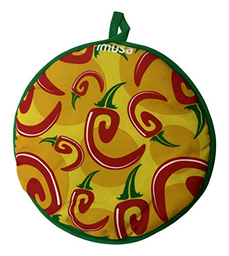 IMUSA USA MEXI-1011 Chili Pepper Cloth Tortilla Warmer 10-Inch, Yellow/Red/Green