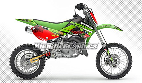 (Kungfu Graphics Custom Decal Kit for Kawasaki KX 65 KX65 2000 2001 2002 2003 2004 2005 2006 2007 2008 2009 2010 2011 2012 2013 2014 2015, Green Red)
