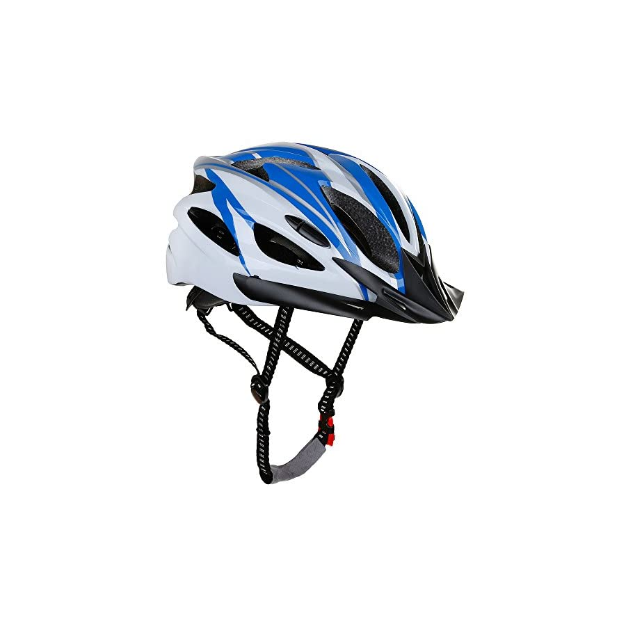 Zacro Adjustable Thrasher Adult Cycle/Bike Helmet with Detachable Liner, Blue Plus White