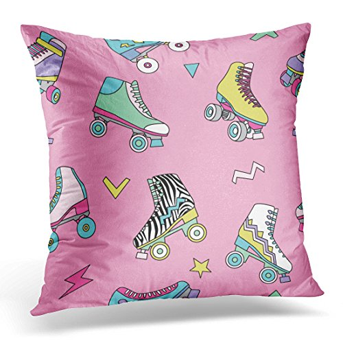 UPOOS Throw Pillow Cover Colorful Disco with Cute Retro Roller Skates 80S Rollerskate Decorative Pillow Case Home Decor Square 18x18 Inches (Disco Footwear)