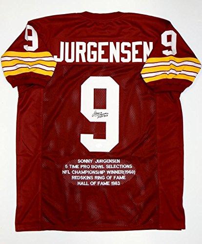 102c65179 Autographed Sonny Jurgensen Jersey - Maroon Pro Style Stat HOF W Auth - JSA  Certified -
