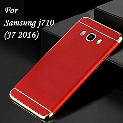 newest 342e7 53215 MOBITUSSION Luxury 3-in-1 Back Case Cover for Samsung Galaxy J7  2016(Red-Gold)