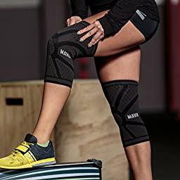 Mava Sports Knee Compression Sleeve Support (Black, Large)