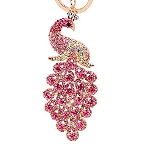 Majestic Peacock Keychain Blingbling Crystal Handbag Charm for Feather Fans Key Chain Bird Animal Lovers Rhinestone Diamond Key Ring Holder Purse Bag Car Hanging Pendant Decoration Gift (Pink) -