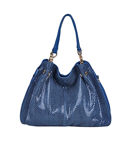 Fashion Women Brands Handbags Shoulder Bag Snake Pattern Genuine Leather Messenger Bag Luxury Tote Cowhide Paillette BA021 (Color Blue) (Puma Baseball Bag)
