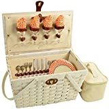 Picnic at Ascot 717W-DO Settler Traditional American Style Picnic Basket, Whitewash/Diamond Orange