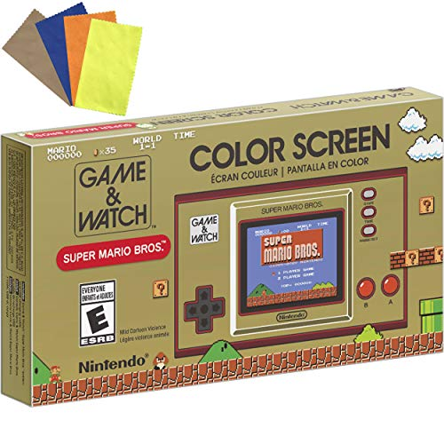 """Nintendo Game & Watch: Super Mario Bros - 2.36"""" Full-Color LCD Screen - Family Christmas Holiday Bundle for Game Watch Super Mario 35th Anniversary - iPuzzle 4 Colors Microfiber Glasses Cleaning Cloth"""