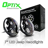 "Optix Jeep Wrangler 7"" Inch Round 120W Total CREE LED Projector Headlights Angel Eyes Halo Ring DRL for 1997-2016 JK TJ LJ Sahara Rubicon Sports Unlimited"