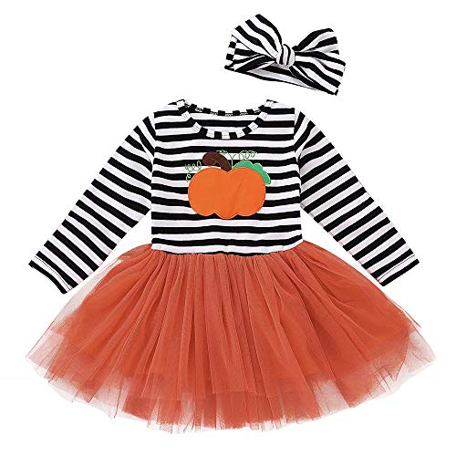 FEITONG Kids Baby Girls Halloween Pumpkin Striped Print Dresses+Headbands 2PCS Clothes Sets(12-18M,Multicolor)]()