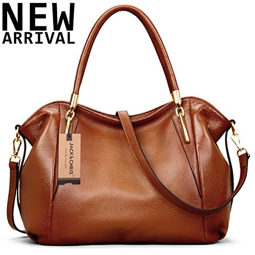 New Arrival Leather Satchel Purses and Handbags Shoulder Tote Crossbody Bag for Women by Jack&Chris, WBDZ023D(Brown)