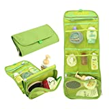Happy Hours - Multifunction Foldable Hanging Toiletry Bag Cosmetic Organizer Storage / Portable Waterproof Wash Pouch Makeup Case with Hook for Camping, Travel, Household(Green)