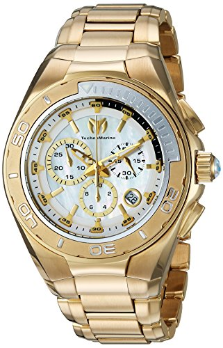 Technomarine Men's Manta Swiss-Quartz Watch with Stainless-Steel Strap, Gold, 25 (Model: TM-215042)