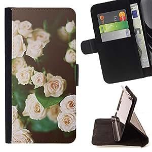 BullDog Case - FOR/Sony Xperia Z2 D6502 / - / roses vignette black green pink spring /- Monedero de cuero de la PU Llevar cubierta de la caja con el ID Credit Card Slots Flip funda de cuer