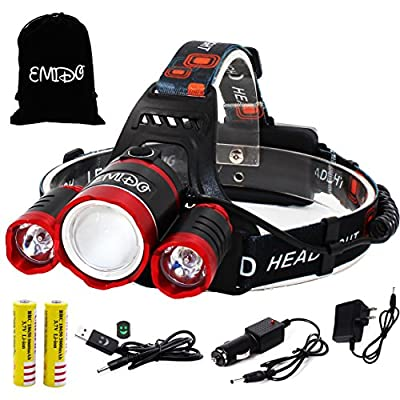 EMIDO 6000 Lumens Zoomable Headlight,4 Modes Super Bright LED Headlamp,Waterproof Flashlight Torch Headlamps,Rechargeable Batteries for Reading Outdoor Running