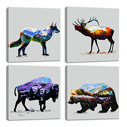 (KALAWA Modern Animal Double Exposure Canvas Prints 4 Panel Deer Wolf Bear Bison Mountain Forest Wall Art for Living Room Stretched and Wooden Framed Ready to Hang (12