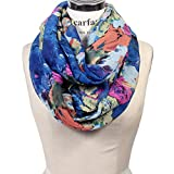 Scarfand's Mixed Color Oil Painting Infinity Scarf (BrushStroke Rose Blue)
