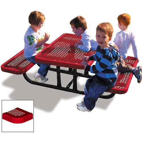 Red Perforated Metal (4' Rectangular Children'S Picnic Table, Perforated Metal, Red)