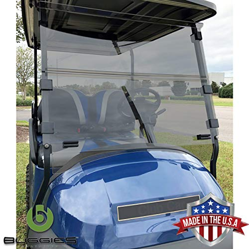 Buggies Unlimited Club Car Precedent 2004-Up Folding Golf Cart Tinted Windshield with Quick Disconnect Mounting System