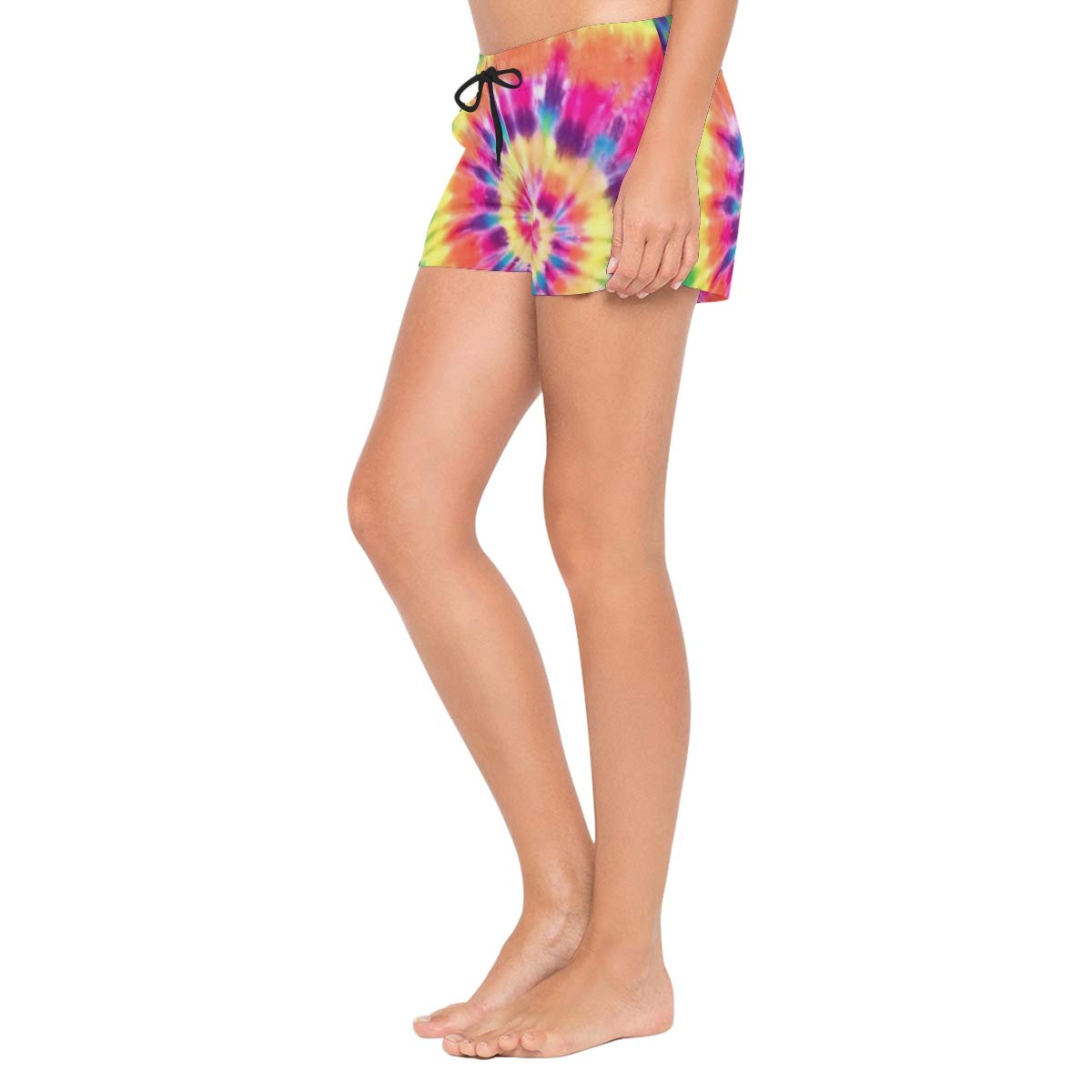 Tie Dye Rainbow Peace Color Womens Quick Dry Swim Trunks Swimming Shorts with Mesh Liner