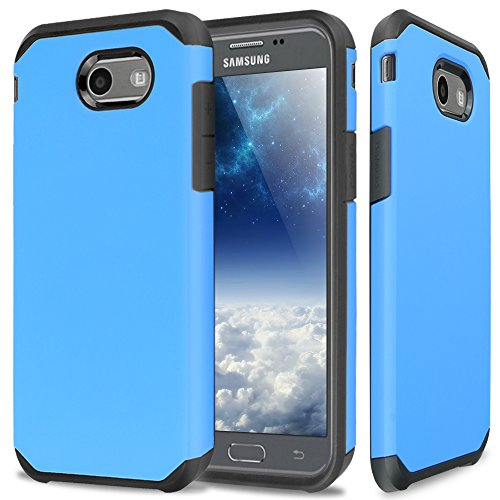 TJS Samsung Galaxy J3 Emerge/J3 Prime/Amp Prime 2/Express Prime 2/Sol 2/J3 Mission/J3 Luna Pro/J3 Eclipse Case, Dual Layer Hybrid Shockproof Protection Rugged Phone Case Armor Cover (Blue)
