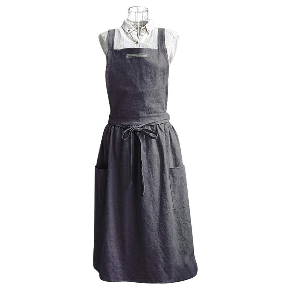 Delantal para mujer nórdico, vestido plisado para adultos, correa cruzada, delantal, cafetería, cocina, delantal de barbacoa, con bolsillos: Amazon.es: ...