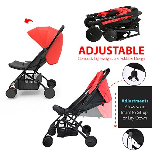Portable Folding Baby Travel Stroller - Upgraded Lightweight Foldable Compact Stroller w/Adjustable Reclining Seat, Foot-Activated Brake, Locking Front Wheels, Retractable Canopy - Jovial by Jovial (Image #7)