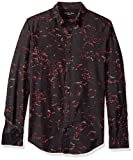 Calvin Klein Jeans Men's Long Sleeve Abstract Floral Print Button Down Shirt, Black, X-Large