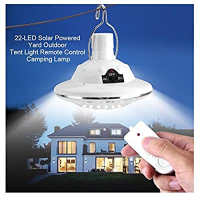 Solar Circular Hooking Remote Control Lamp,Rambling New 22LED Outdoor/Indoor Solar Lamp Camp Garden Lighting Wireless Powered Light