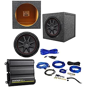 "Kicker 43CVR124 COMPVR 12"" 800W Subwoofer+Sealed Box+Kicker Amplifier+Amp Kit"