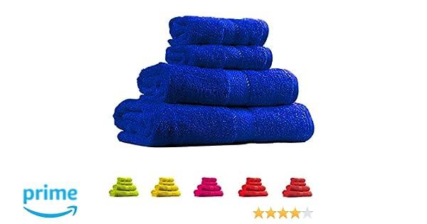 Trident 400 g/m², Juego de 4 toallas de algodón (baño y mano), Neón Azul: Amazon.es: Hogar