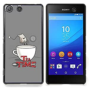 For Sony Xperia M5 - Tea Time Quote Funny Bag Drawing Art Comic /Modelo de la piel protectora de la cubierta del caso/ - Super Marley Shop -