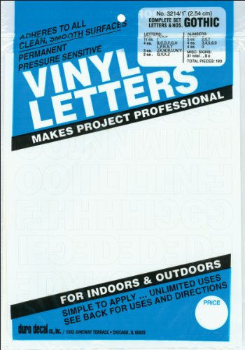 Adhesive Permanent Vinyl Letters - Duro Decal Permanent Adhesive Vinyl Letters & Numbers: 1