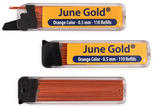 June Gold 330 Orange Colored Lead Refills, 0.5 mm, Fine Thickness for Delicate/Gentle Use with Convenient Dispensers
