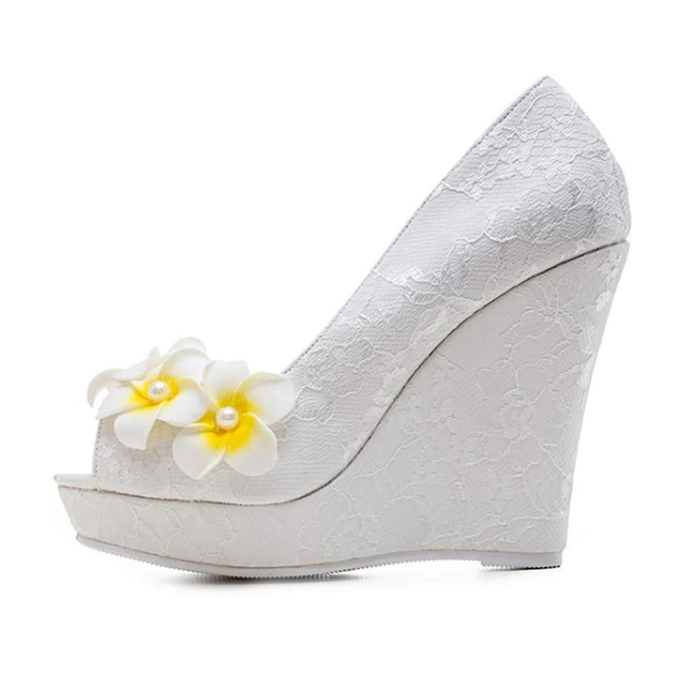 - XLY Damen Hochzeit Schuhe Spitze Blaumen High Heel Pumps Peep Toe Abend Prom Braut Hochzeit Wedges