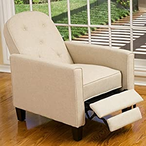 Santino Beige Fabric Recliner Chair w/ Tufted Backrest