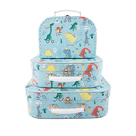 Juego de 3 Retro de equipaje estilo poco dinosaurios maleta caja de almacenaje Estuche Escolar almuerzo soporte: Amazon.es: Hogar