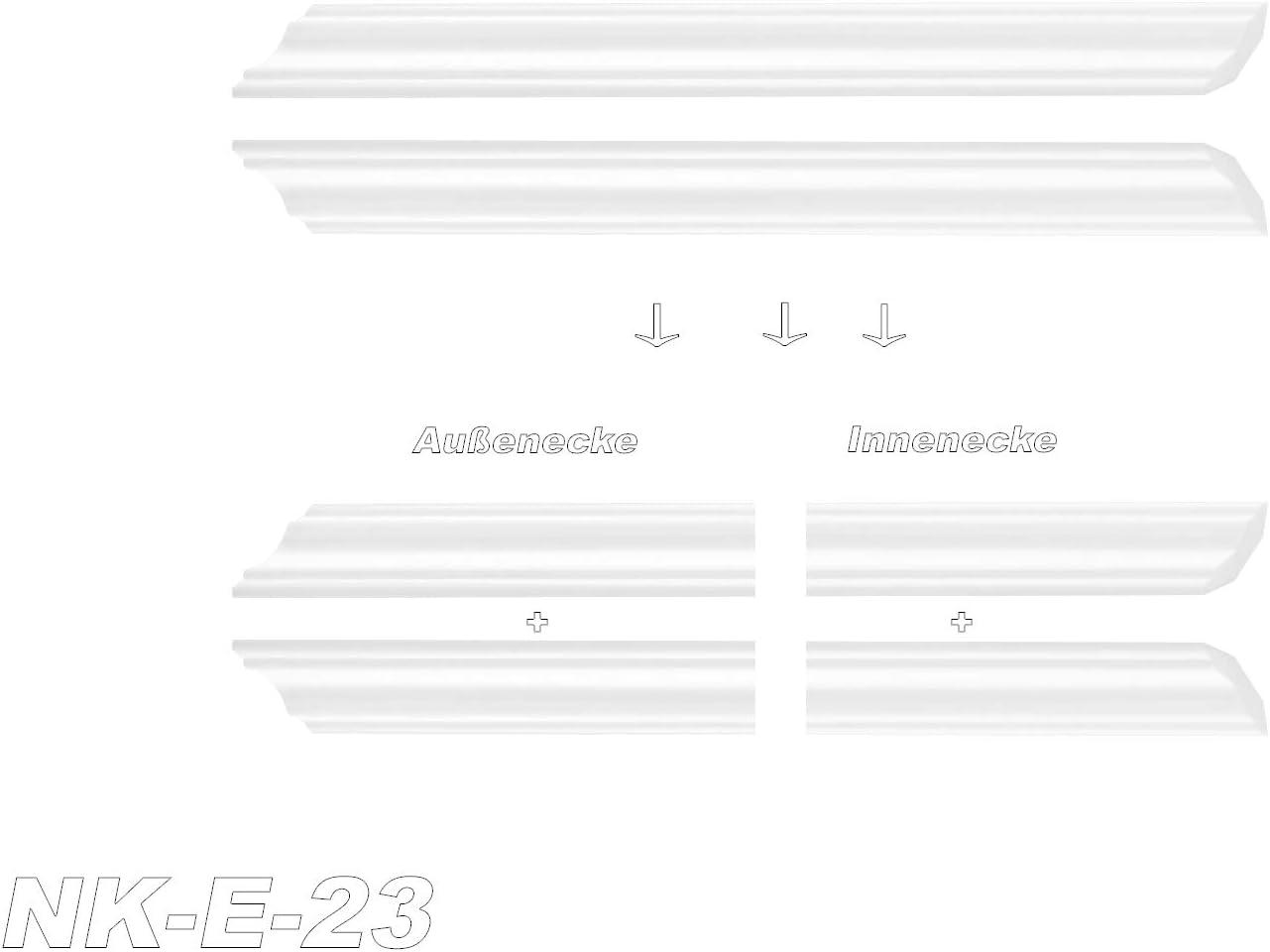 Innen- und Au/ßenecke dekorativ extrudiertes Styropor Stuckprofil NK-E-40 45 x 45 mm Decken-// und Wand/übergang modern wei/ß passend zur Leiste E-40 XPS